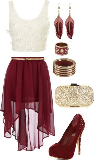 Skirt: chiffon skirt, burgundy skirt, white crop tops, feather ...