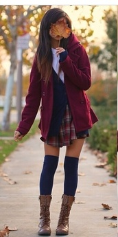 coat,denim jacket,white blouse,blue shirt,light blue,vintage,hippie chic,hippie,classic,classy,sweater,skirt,shirt,socks,knee high socks,burgundy,combat boots,shoes