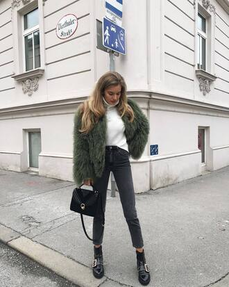 jacket tumblr army green jacket fur jacket faux fur jacket denim jeans black jeans skinny jeans top white top turtleneck white turtleneck top bag black bag boots black boots ankle boots