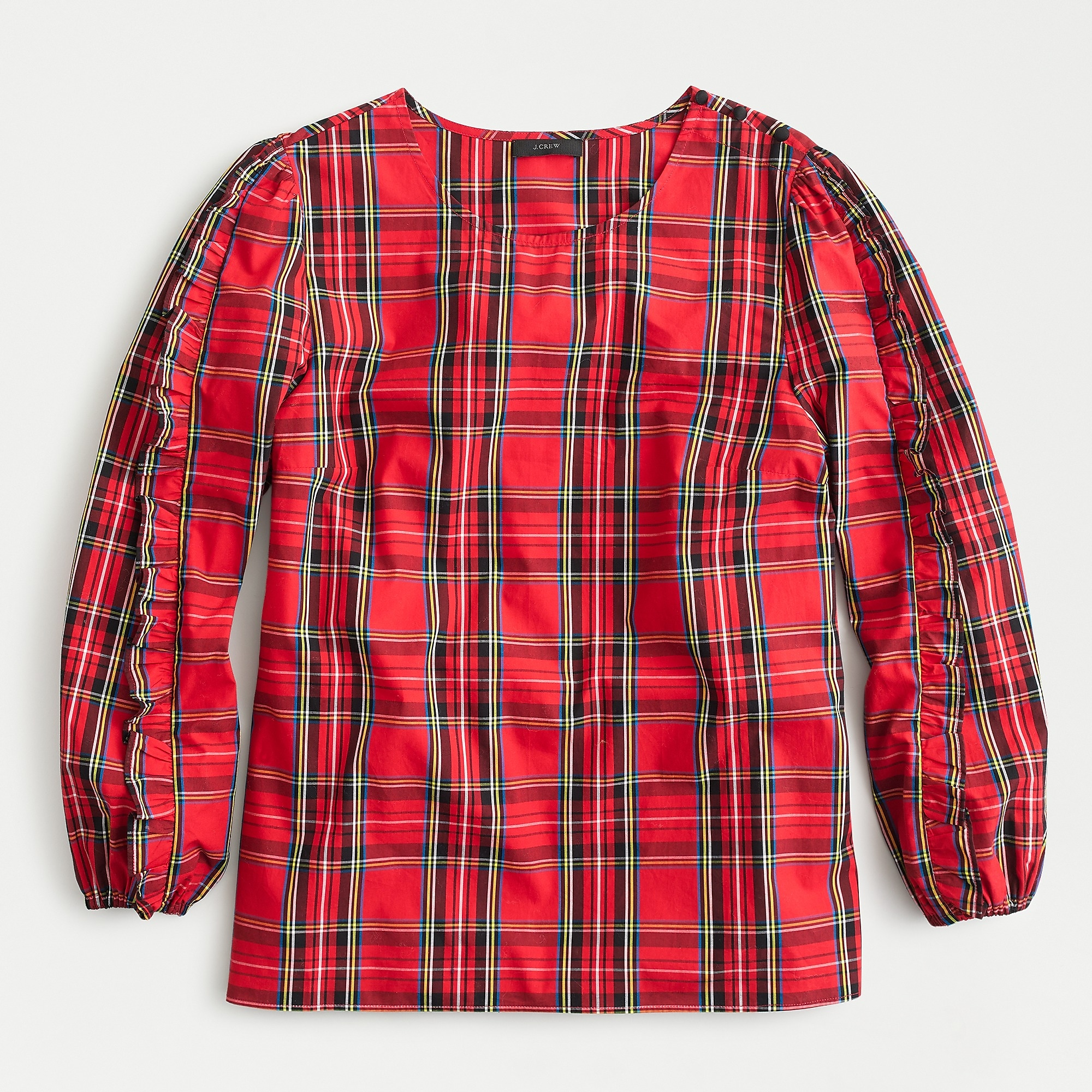 Ruffle-sleeve top in red Stewart tartan