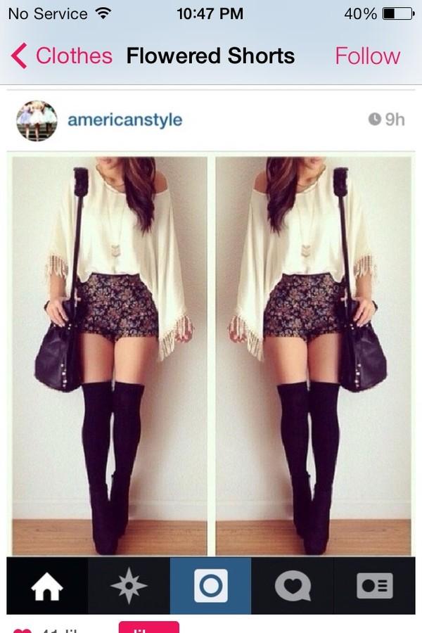 bag shirt shorts shoes long sleeves High waisted shorts black bag knee high socks jumpsuit
