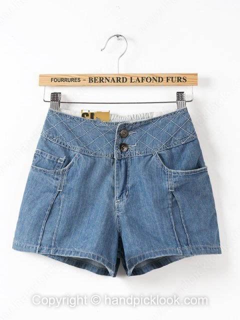 Blue Pockets Skinny Button Denim Fly Shorts - HandpickLook.com