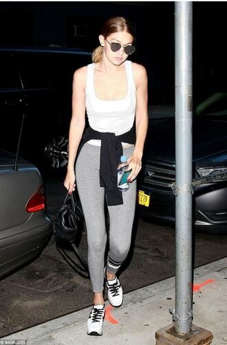 leggings gigi hadid sneakers tank top sunglasses bag