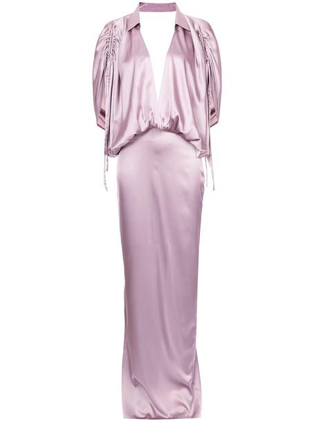 Leal Daccarett gown women silk purple pink dress