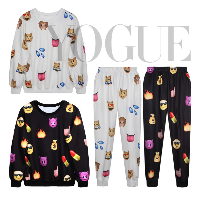 Women's Men's Sweatshirts Emoji Printed Suit Hoodies Tops Jumpers Jogger Pants