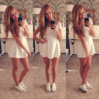 white dress white skater dress jewelry converse tanned dress skater