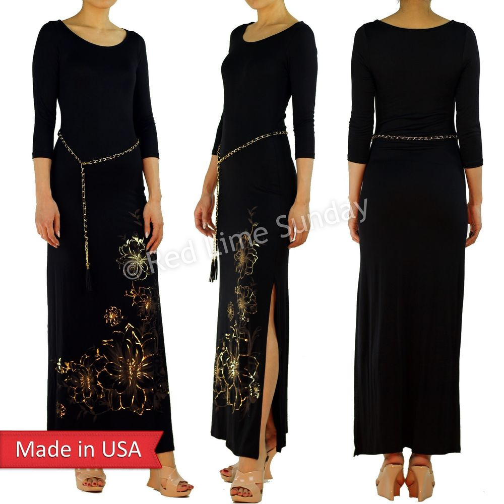 Sexy Gold Floral Flower Foil Print Black Slit Split Maxi Dress w/ Tassel Belt US