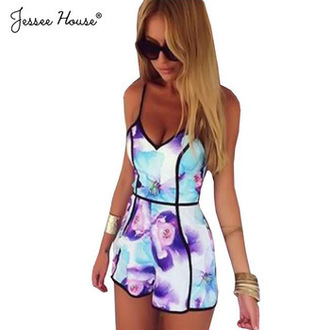 romper floral baby blue purple light purple spaghetti strap