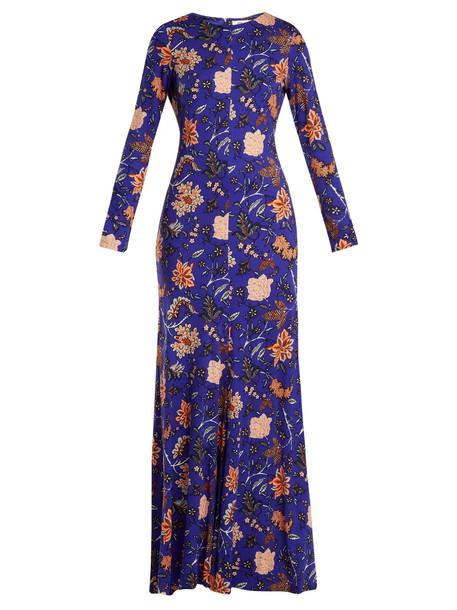 Diane Von Furstenberg dress maxi dress maxi print silk blue
