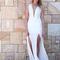 White longer lengths dress - white plunge neckline double slit | ustrendy