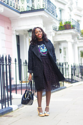 i want you to know,blogger,bag,coat,see through,kenzo,sweater,midi skirt,heels,patent leather bag,black bag,handbag,black skirt,top,kenzo sweater,winter coat,black coat,shoes,yellow shoes,high heels,patent bag