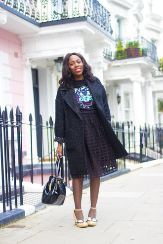 i want you to know blogger bag coat see through kenzo sweater midi skirt heels patent leather bag black bag handbag black skirt top kenzo sweater winter coat black coat shoes yellow shoes high heels patent bag