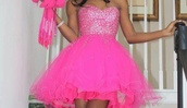dress,pink,girly,beautiful,cocktail dress,pink dress,glitter dress,prom dress,fashion,barbie,glitter,pink by victorias secret,pink prom dress,hot pink,fluffy,sparkle,sweetheart neckline,prom,tule dress,short