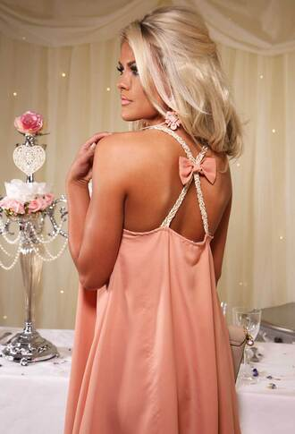dress pink boutique pinkb bow detail cross back peach and gold