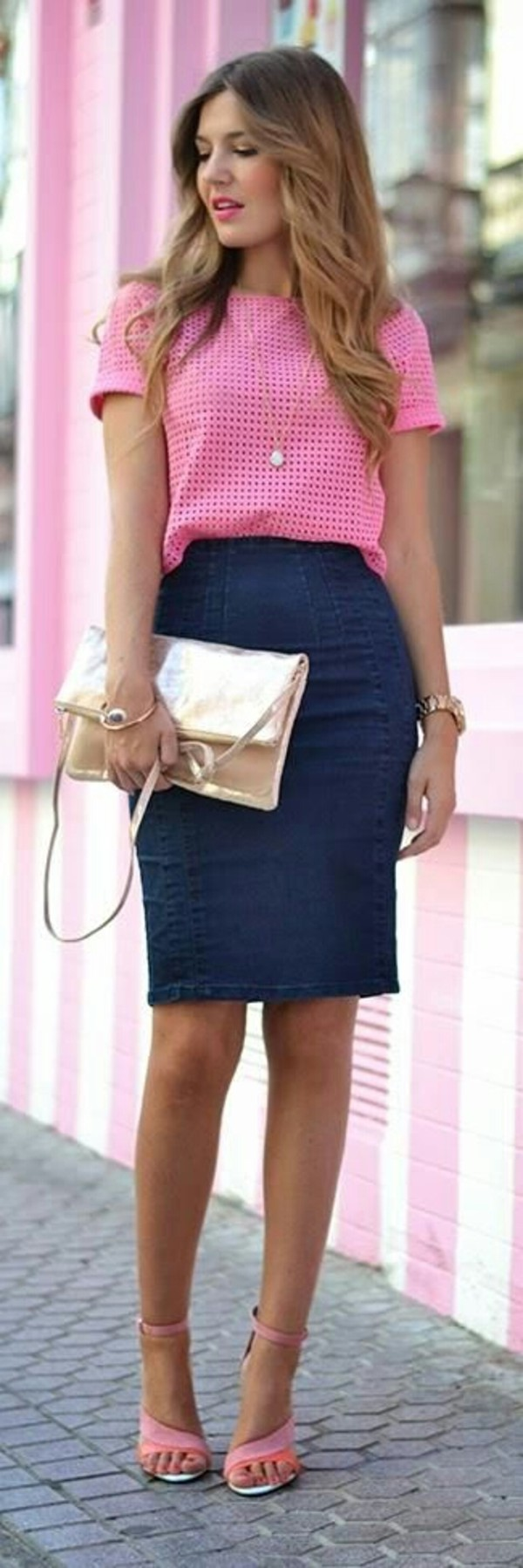 skirt denim pencil skirt blouse shoes office outfits blue skirt top pink top checkered bag gold bag sandals pink sandal