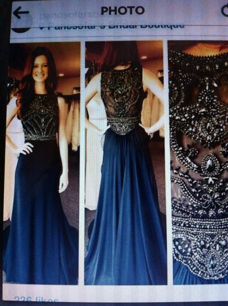 Dark Blue Prom Dress Prom Dress Glitter Dress Grey Dress Formal
