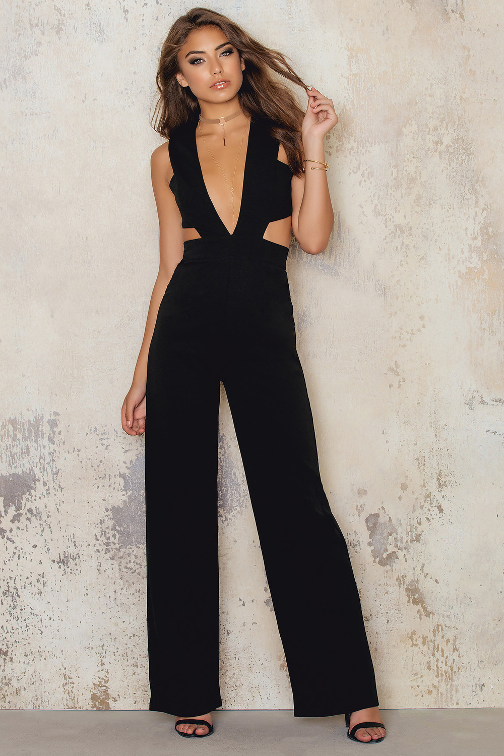 NaaNaa Extreme Plunge Wide Leg Jumpsuit Cut Out Waist