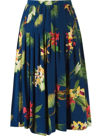 skirt floral skirt pleated midi floral blue