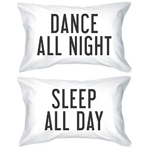 Amazon.com - Bold Statement Pillowcases 300-Thread-Count Standard Size 21 x 30 - Dance All Night Sleep All Day -