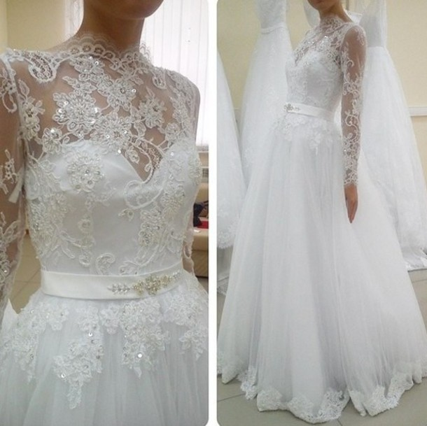Dress long sleeve lace dress long sleeve lace dresses for Sparkly wedding dresses with sleeves