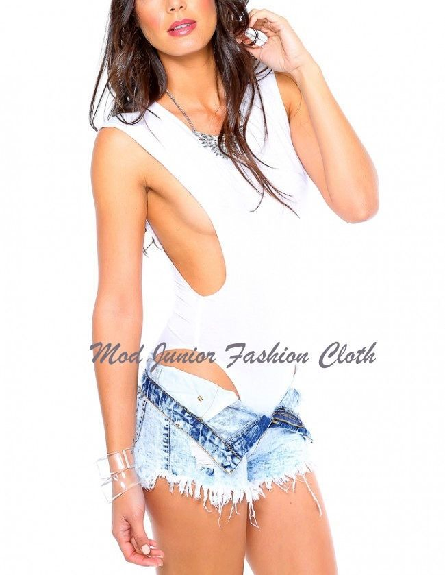 LARGE BOHEMIAN GYPSY STYLE WHITE PLUNGING OPEN SIDE MUSCLE BODYSUIT/PLAYSUIT