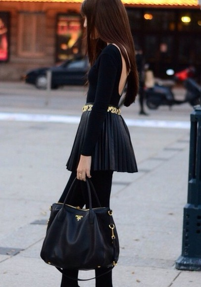 prada black skirt bag