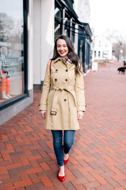 thecollegeprepster blogger coat sweater jeans bag scarf jewels winter outfits trench coat red shoes ballet flats