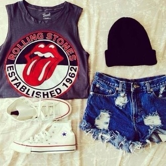 tank top the rolling stones shorts shoes dark