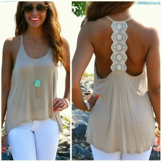 blouse t-back crochet beige top top