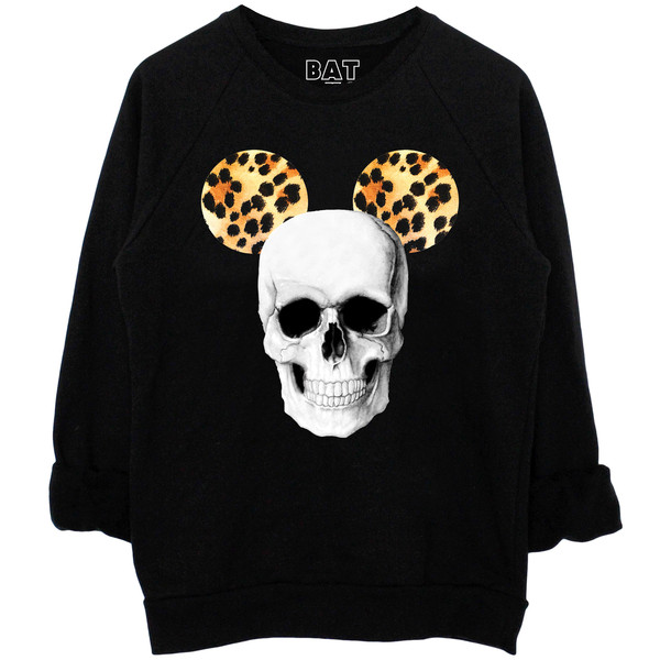 Women's White and Black Hallow Mouse Printed Casual Sweatshirt | BATOKO