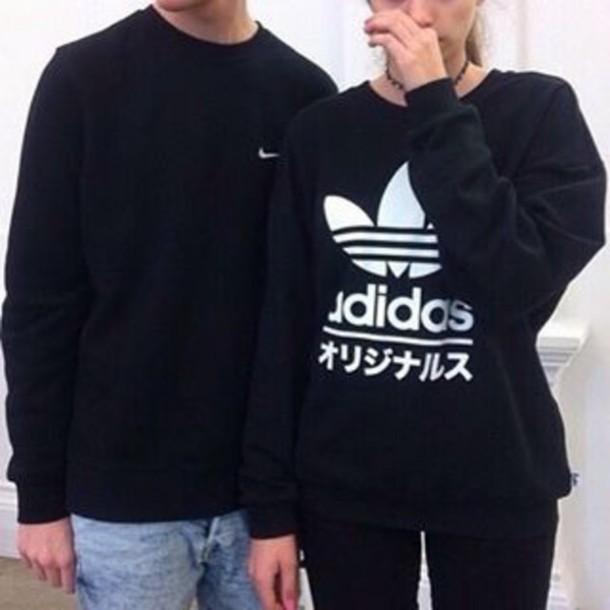the best attitude 9d008 8bd70 sweater, adidas, black, japan, japanese, cute, white, girl,