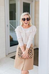 lemon stripes,blogger,sweater,skirt,bag,sunglasses,clutch,button up skirt,fall outfits