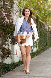 a lonestar state of southern,blogger,sunglasses,jewels,white skirt,mini skirt,flats,white jacket,brown bag,shoulder bag,flannel shirt,blue top