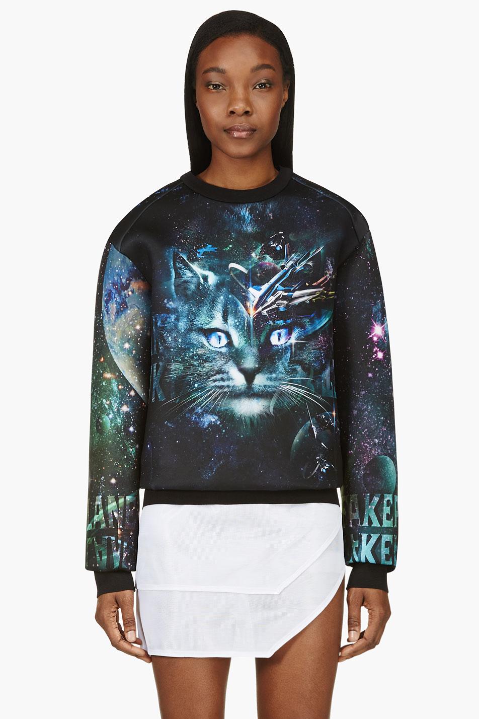 juun.j ssense exclusive black and teal cosmic cat sweatshirt