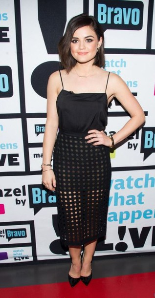 top lace sheer midi skirt lucy hale pumps skirt shoes