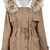 Khaki Fur Hooded Long Sleeve Drawstring Loose Outerwear - Sheinside.com