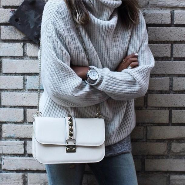 sweater grey oversized oversized turtleneck sweater knitwear turtleneck knit knitted sweater