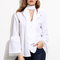 White bell sleeve blouse with neck tie -shein(sheinside)