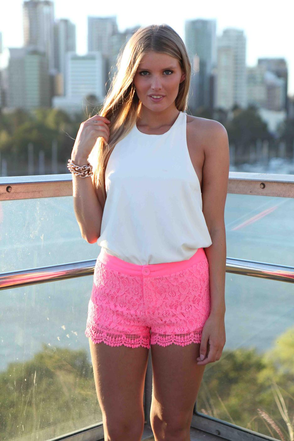 Pink floral lace shorts