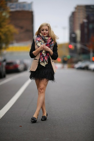 rach martino blogger blazer fluffy feathers loafers tartan scarf