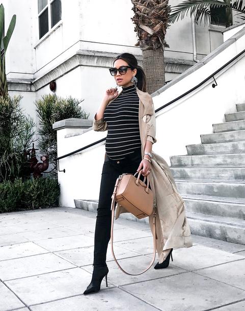 my white t blogger leggings jeans coat shoes jewels bag fall outfits trench coat handbag black pants