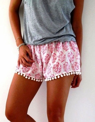 shorts pink cute paisley design pattern summer flowy floral love pom pom shorts pants flowers irregular laciness flowy shorts mini shorts