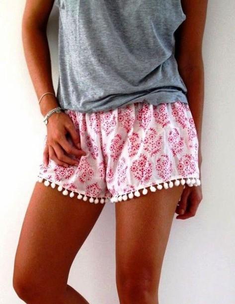 shorts pink cute paisley design pattern summer flowy floral love pom pom shorts pants flowers irregular laciness flowy shorts mini shorts