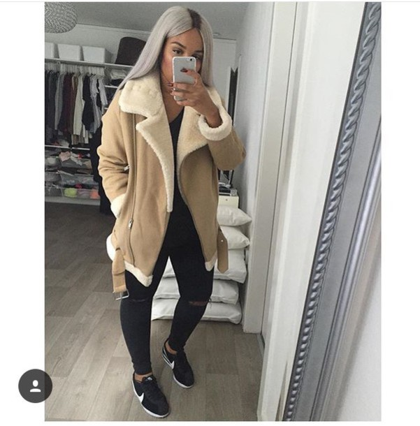 Coat Faux Fur Tumblr Tumblr Outfit Shearling Jacket