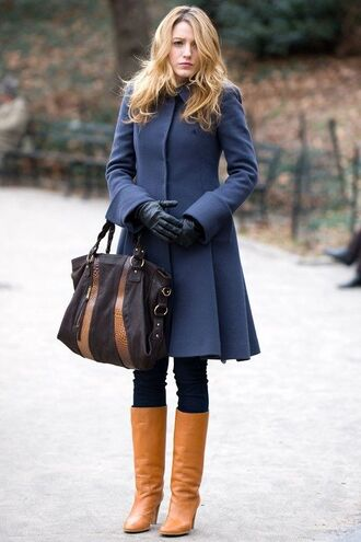 coat blue coat serena van der woodsen gossip girl winter coat perfect