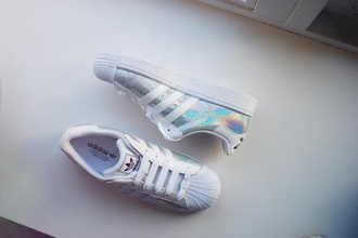 shoes adidas superstars adidas sneakers holograhic hologram sneakers addidas superstar sneakers glitter shoes holographic adidas superstars  s where can i get these for lesss than £70 holographic adidas shoes opalescent white rainbow adidas originals asos superstar adidas lexee smith holographic shoes nike