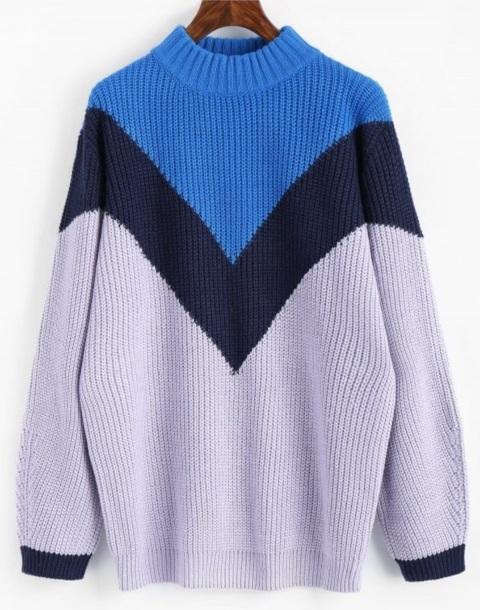 sweater girly sweatshirt knitwear knit knitted sweater blue