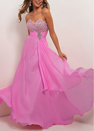 Like chiffon sheath strapless sweetheart empire waist beaded full length prom gown at dressilyme.com