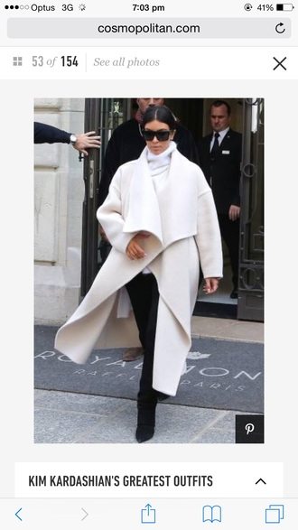 jacket white kim kardashian white blouse winter coat fashion style