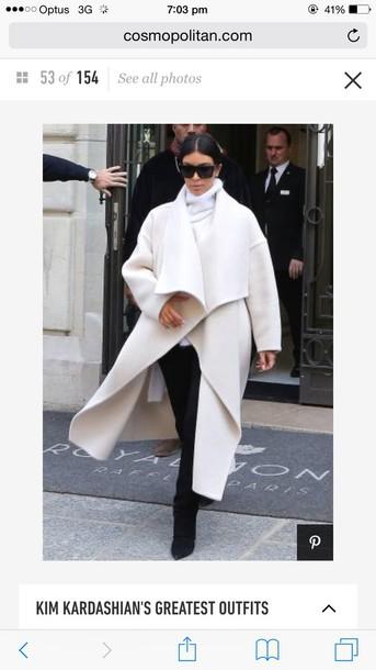 jacket white kim kardashian white blouse winter coat fashion style